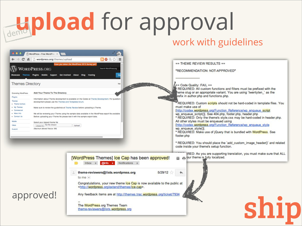 upload for approval work with guidelines ship d...