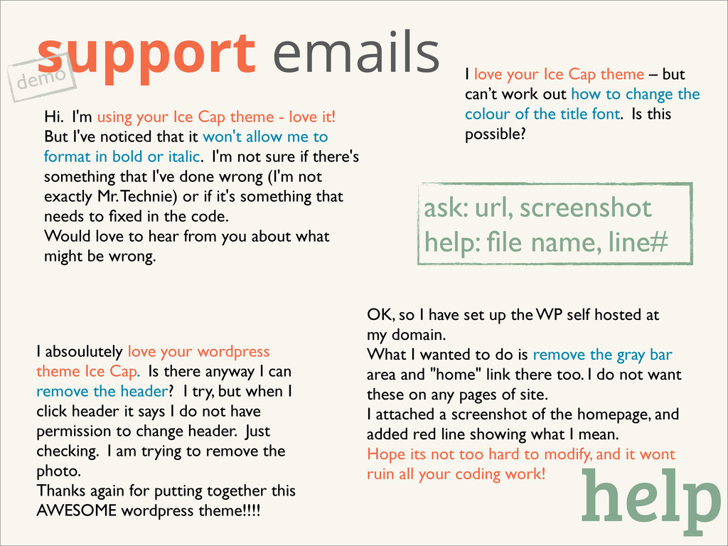 support emails demo I absoulutely love your wor...
