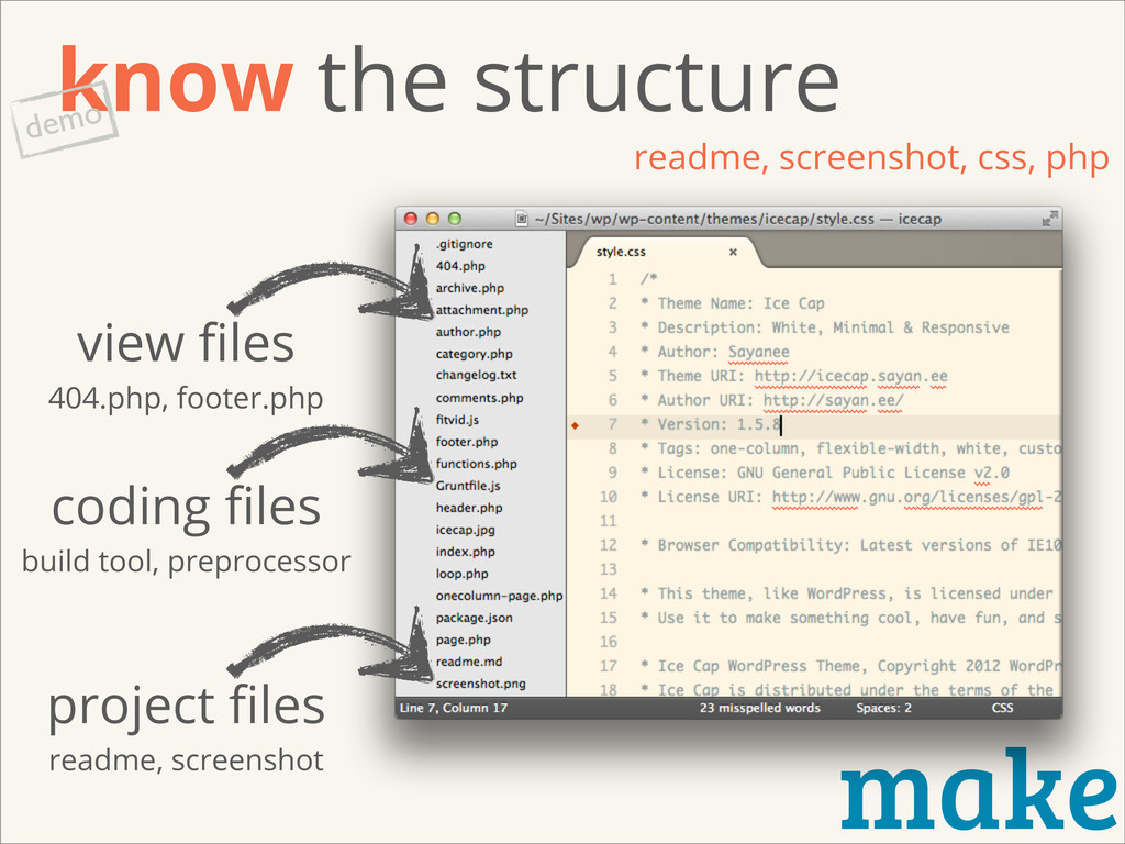 make know the structure readme, screenshot, css...