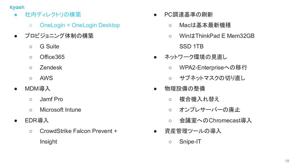 18 ● 社内ディレクトリの構築 ○ OneLogin + OneLogin Desktop ...