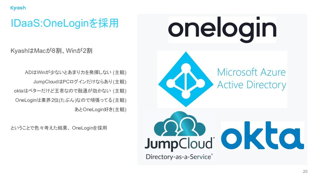 20 IDaaS:OneLoginを採用 KyashはMacが8割、Winが2割 ADはWin...