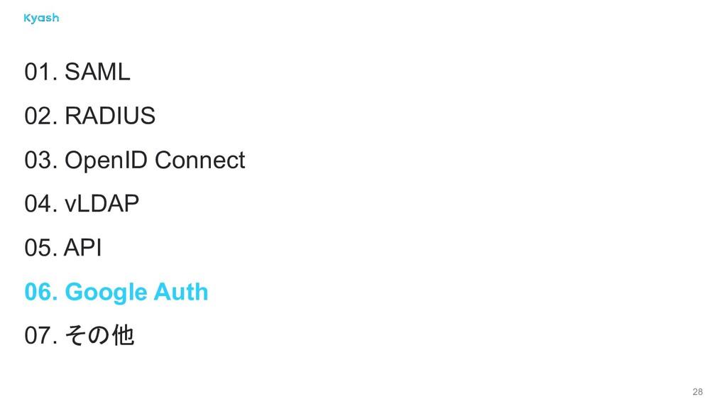 28 01. SAML 02. RADIUS 03. OpenID Connect 04. v...