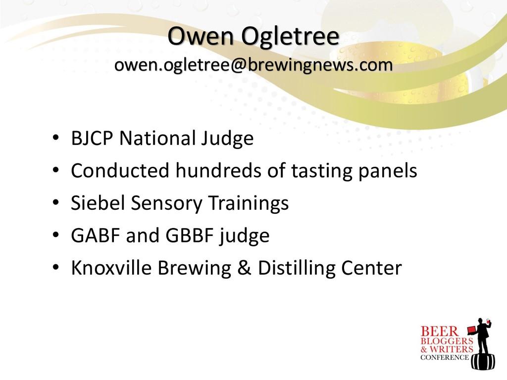 Owen Ogletree owen.ogletree@brewingnews.com • B...