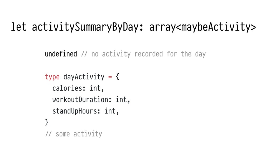let activitySummaryByDay: array<maybeActivity> ...