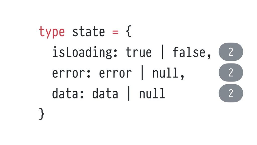 type state = {   isLoading: true | false,   err...