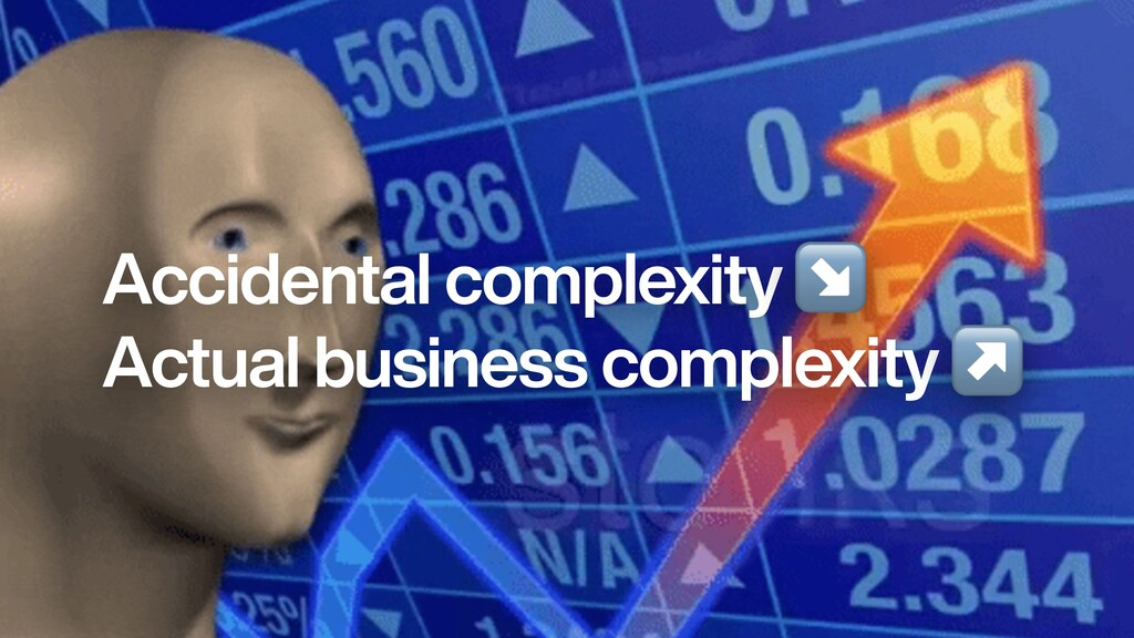 Accidental complexity ↘   Actual business compl...