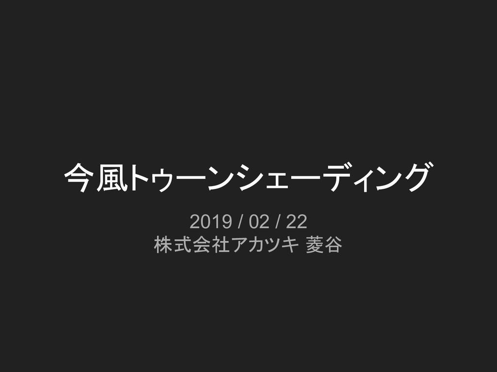 今風トゥーンシェーディング 2019 / 02 / 22 株式会社アカツキ 菱谷