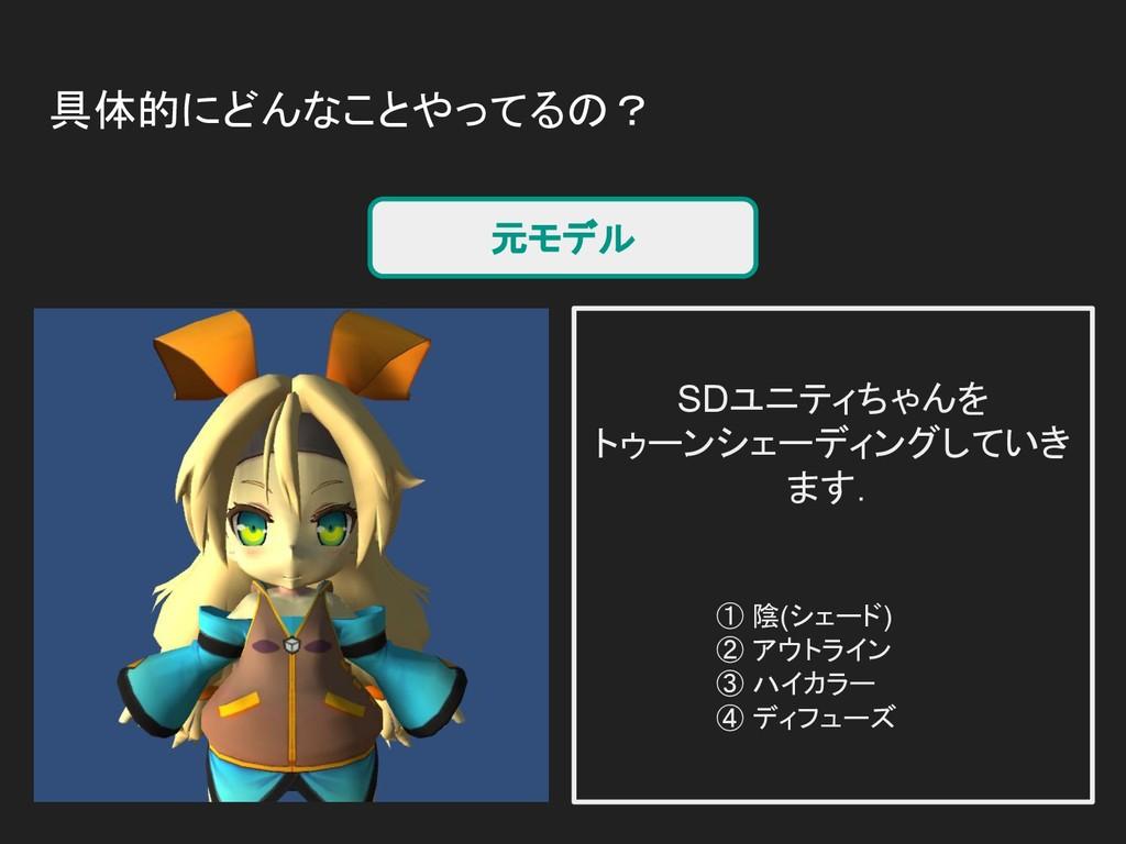 具体的にどんなことやってるの? 元モデル SDユニティちゃんを トゥーンシェーディングしていき...