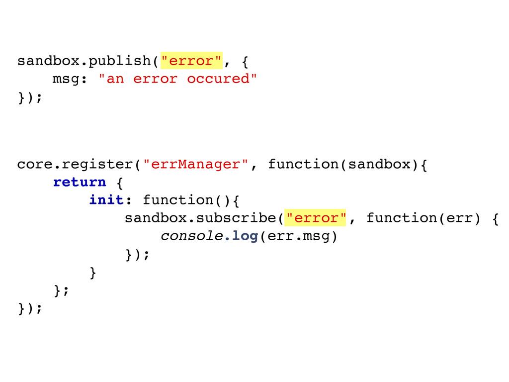 "sandbox.publish(""error"", { msg: ""an error occur..."