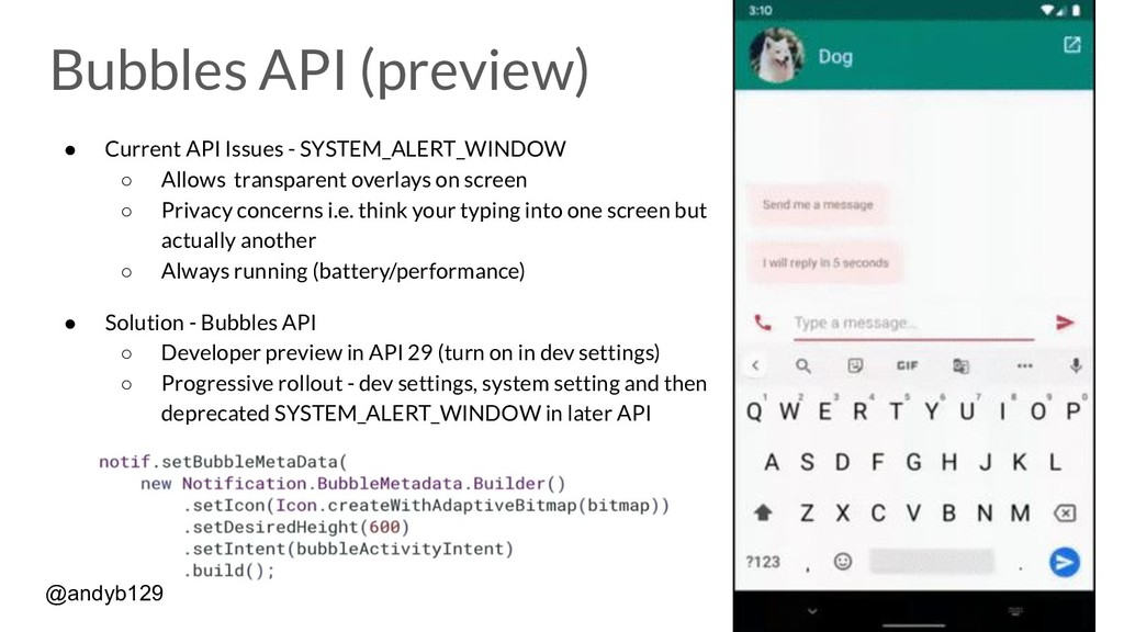 Bubbles API (preview) ● Current API Issues - SY...