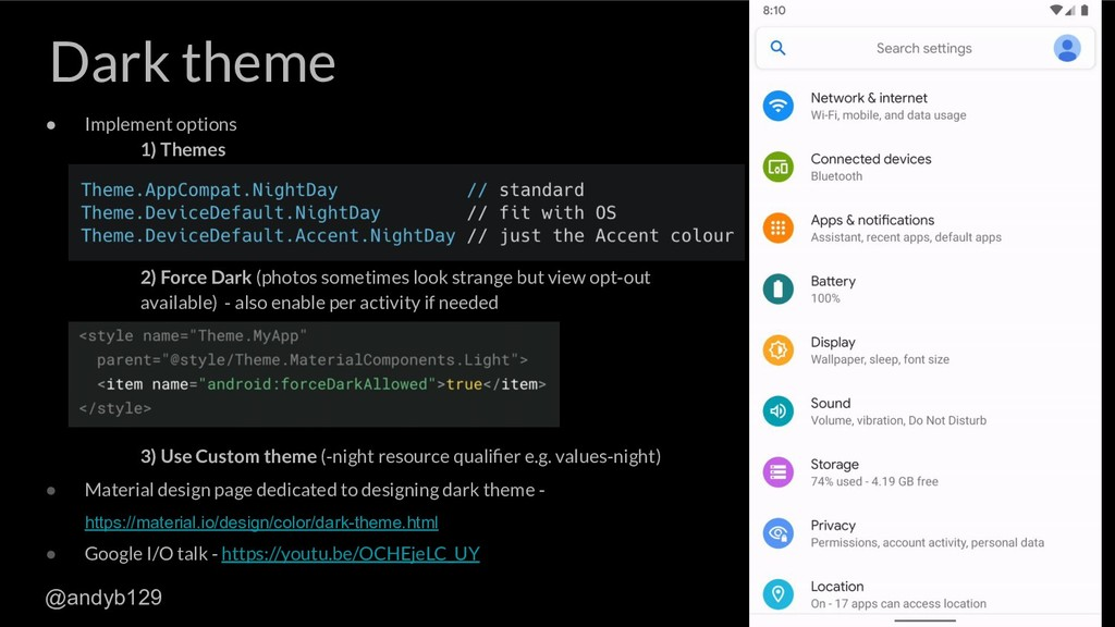 Dark theme ● Implement options 1) Themes 2) For...