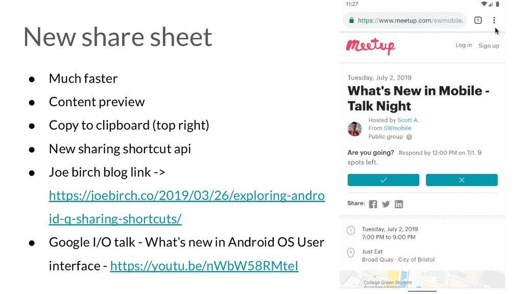New share sheet ● Much faster ● Content preview...