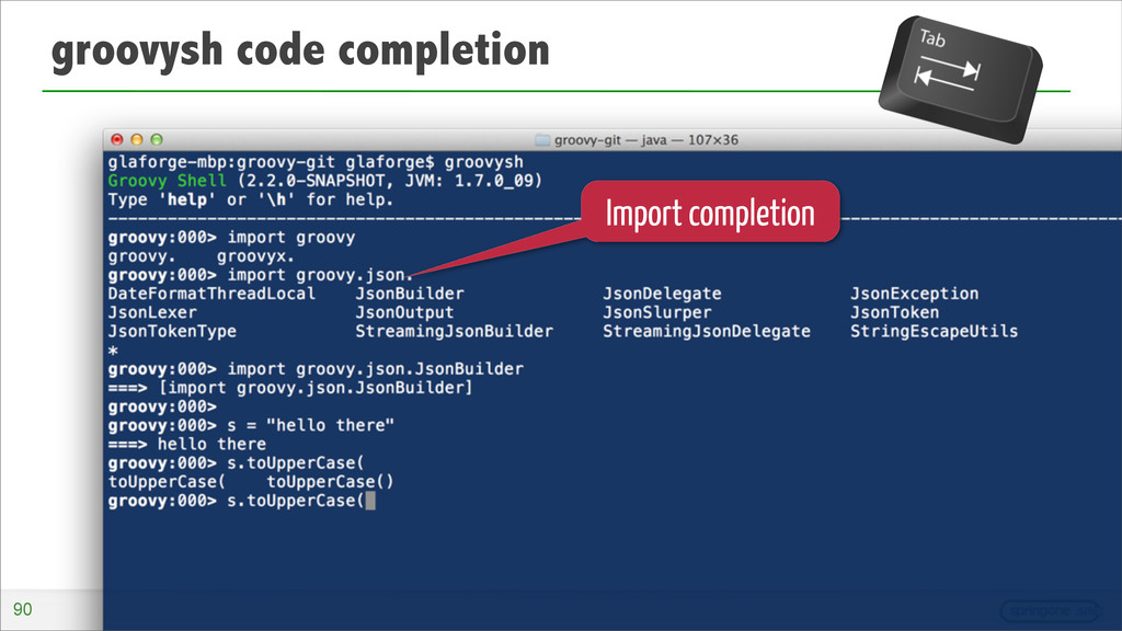 groovysh code completion Import completion 90