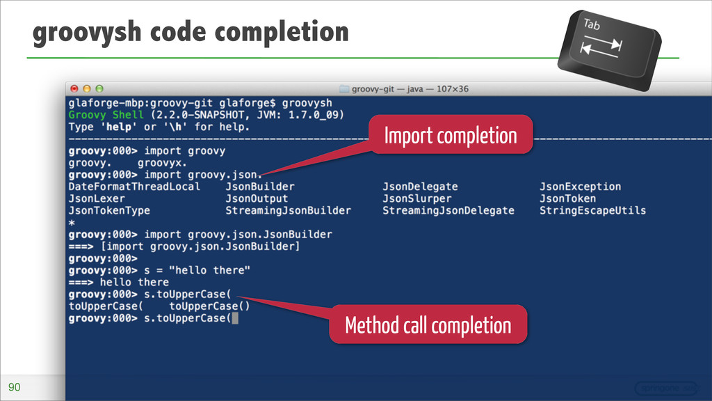 groovysh code completion Import completion Meth...