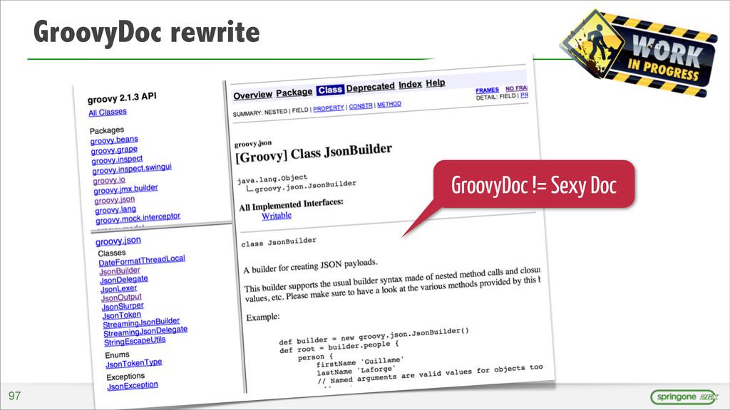 GroovyDoc rewrite GroovyDoc != Sexy Doc 97