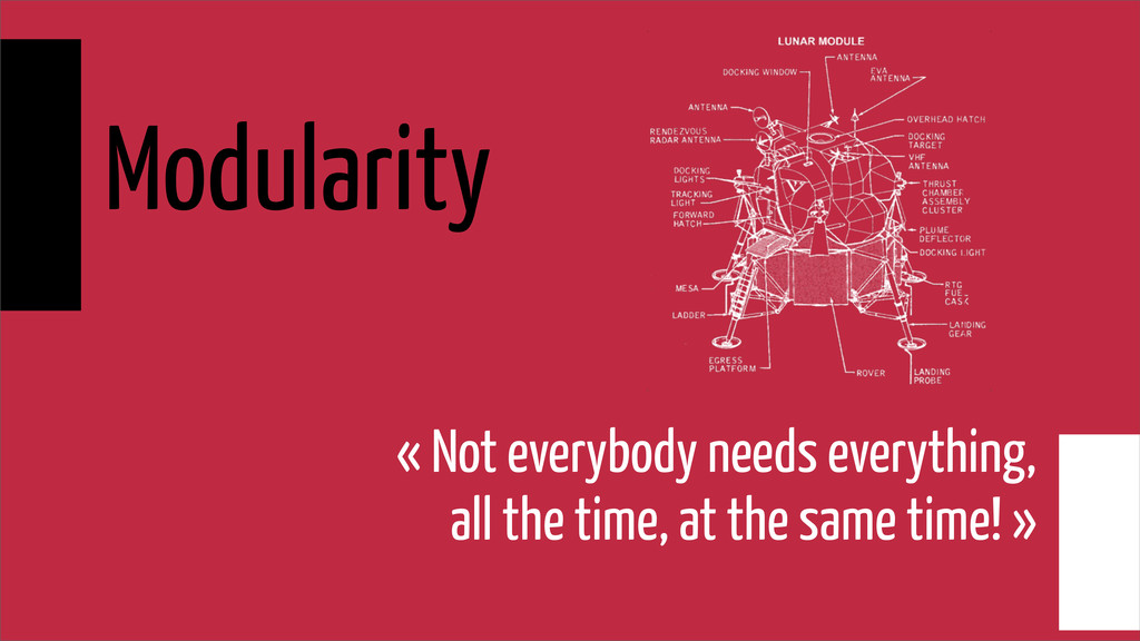 Modularity « Not everybody needs everything, al...
