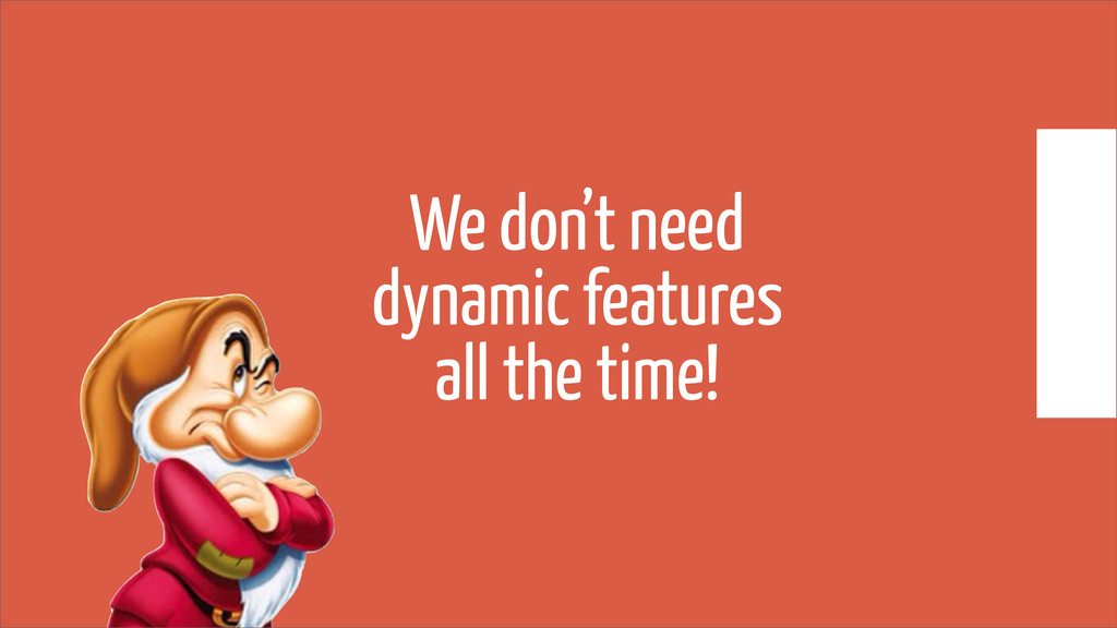 We don't need dynamic features all the time!