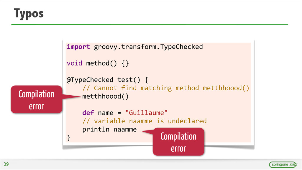 Typos import groovy.transform.TypeChecked ...