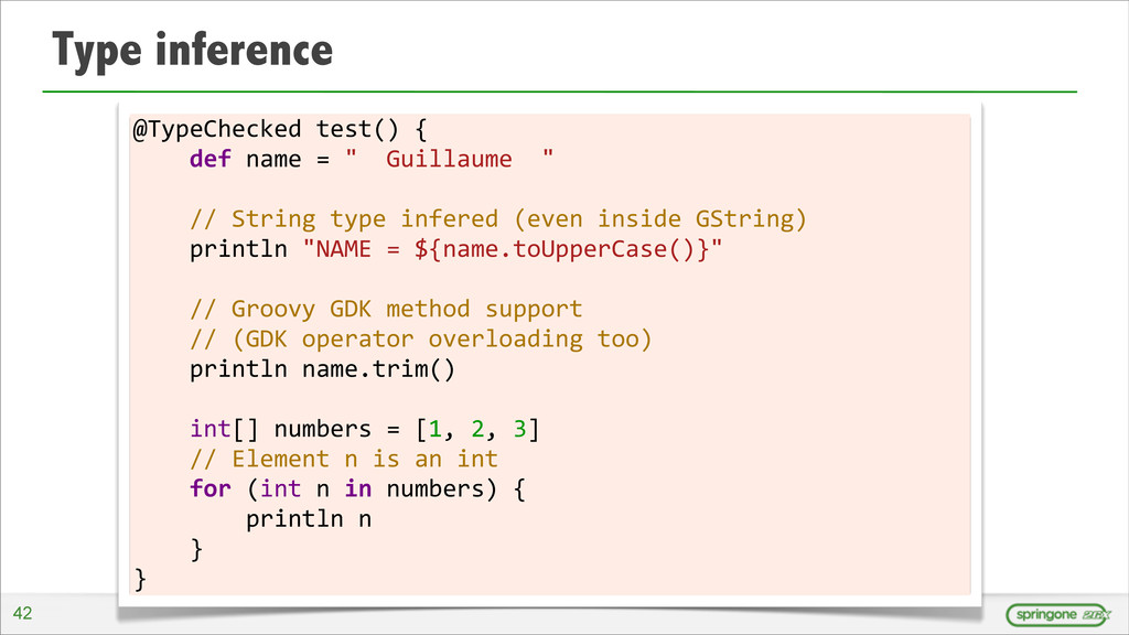 Type inference @TypeChecked test() {  ...