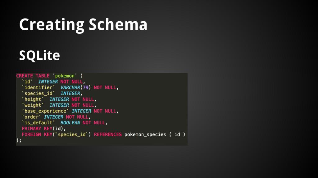 Creating Schema SQLite