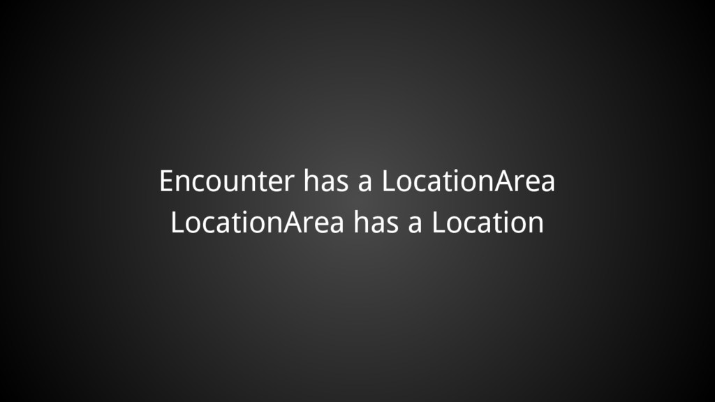 Encounter has a LocationArea LocationArea has a...
