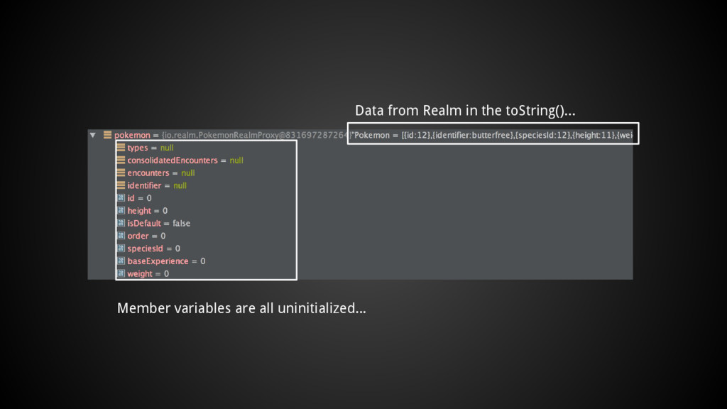 Data from Realm in the toString()... Member var...