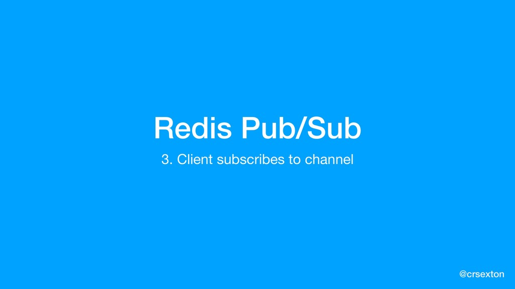 @crsexton Redis Pub/Sub 3. Client subscribes to...