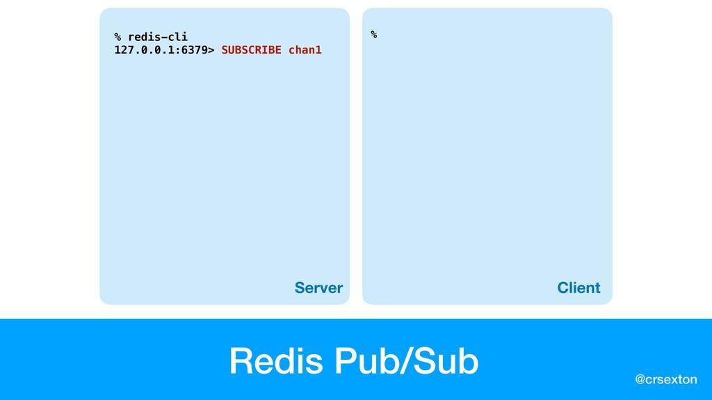@crsexton Redis Pub/Sub % Server Client % redis...
