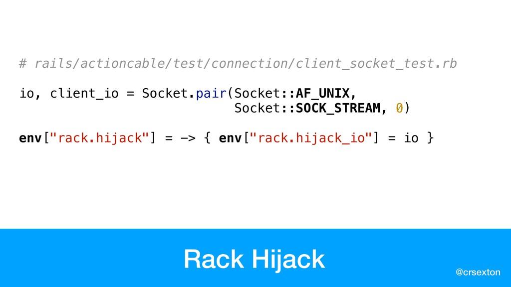 @crsexton Rack Hijack # rails/actioncable/test/c...