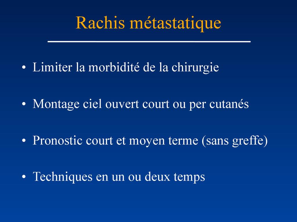 Rachis métastatique • Limiter la morbidité de l...