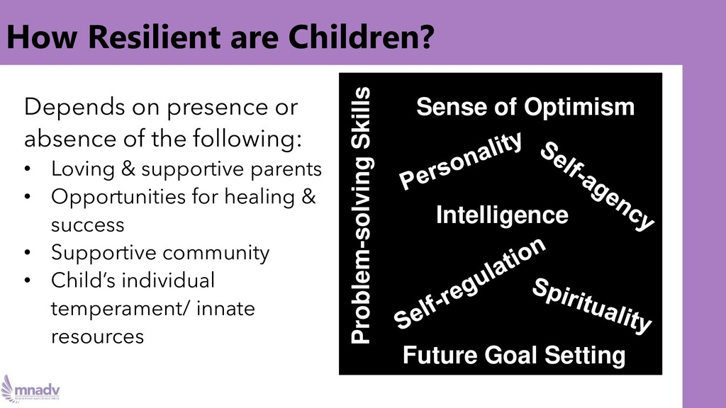 How Resilient are Children? Depends on presence...