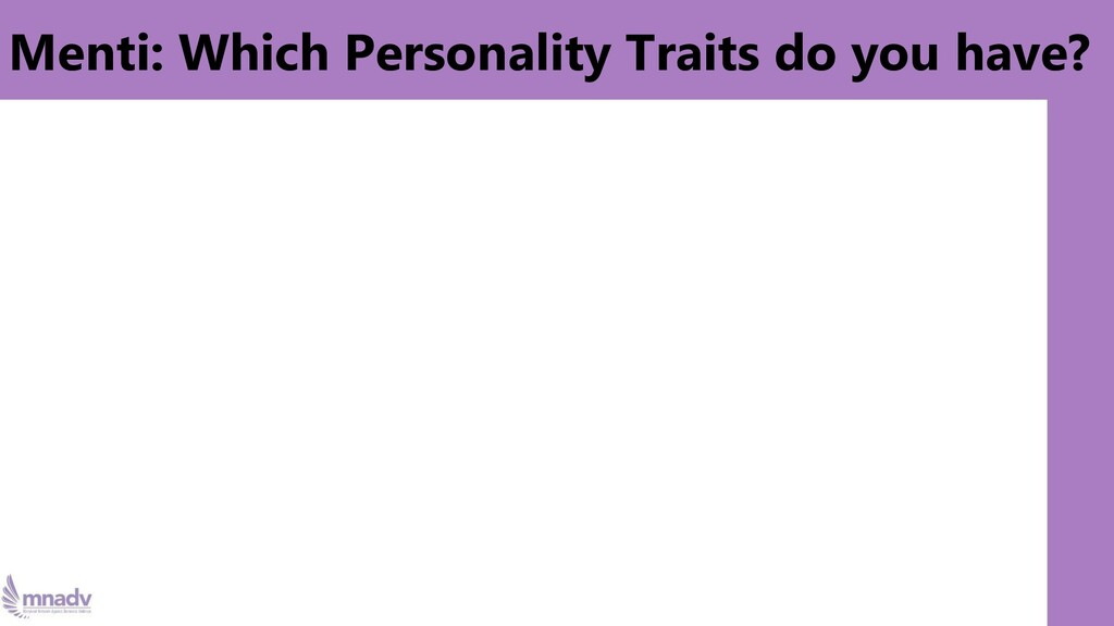 Menti: Which Personality Traits do you have?
