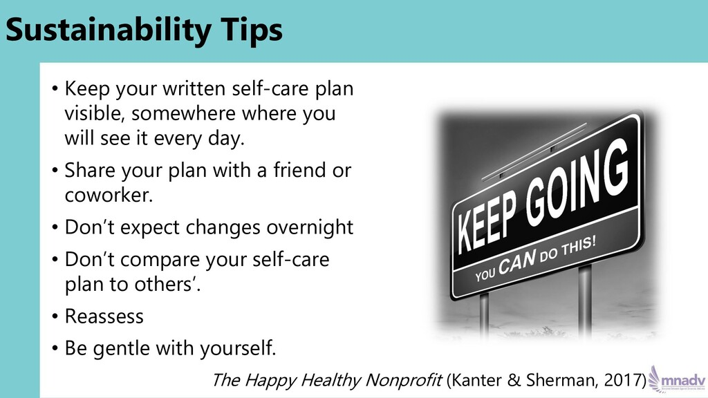 Sustainability Tips • Keep your written self-ca...