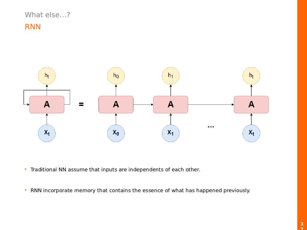 What else…? RNN 3 • Traditional NN assume that ...