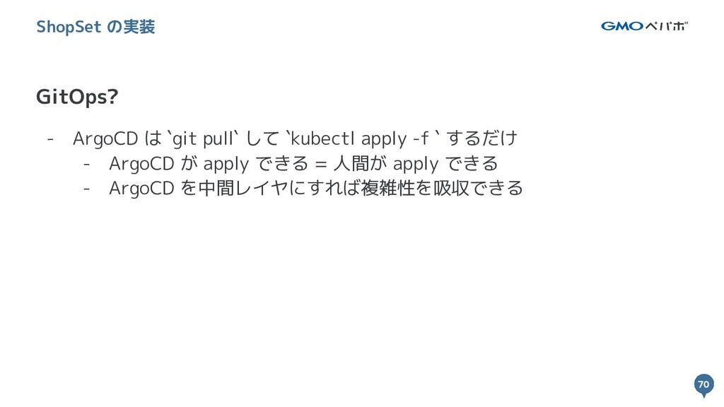 70 70 GitOps? ShopSet の実装 - ArgoCD は `git pull`...