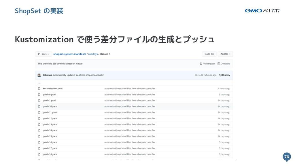 76 76 Kustomization で使う差分ファイルの生成とプッシュ ShopSet の...