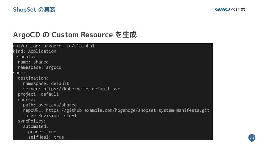 78 78 ArgoCD の Custom Resource を生成 ShopSet の実装