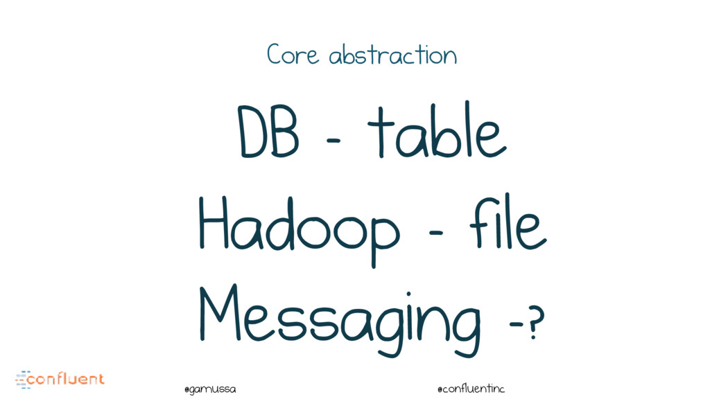 @ @gamussa @confluentinc Core abstraction DB - ...