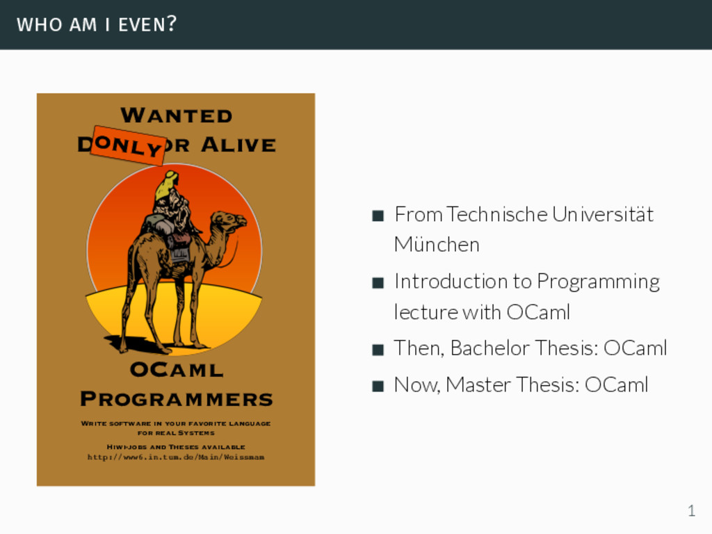 who am i even? OCaml Programmers Wanted Dead or...