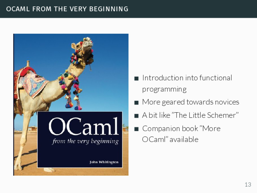 ocaml from the very beginning Introduction into...
