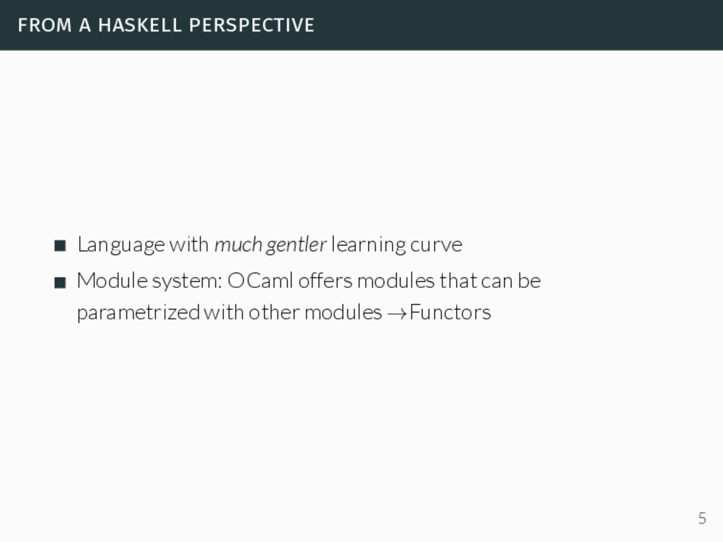 from a haskell perspective Language with much g...