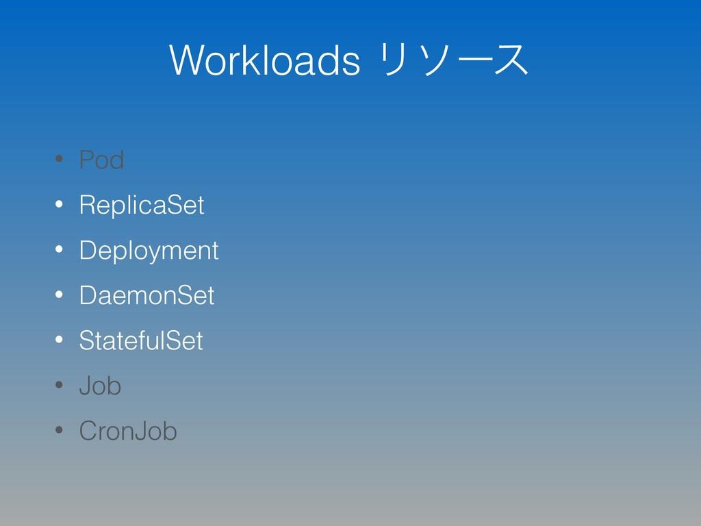 Workloads Ϧιʔε • Pod • ReplicaSet • Deployment ...