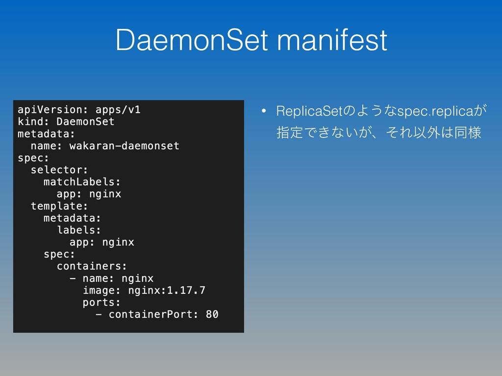 DaemonSet manifest • ReplicaSetͷΑ͏ͳspec.replica...