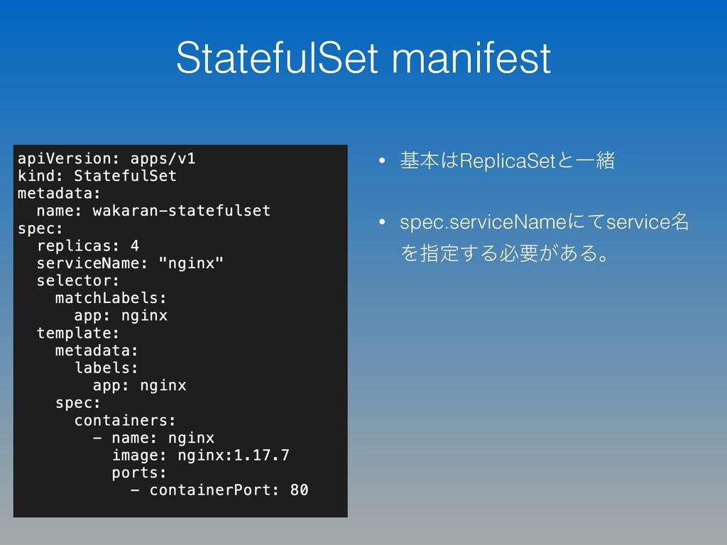 StatefulSet manifest • جຊReplicaSetͱҰॹ • spec....