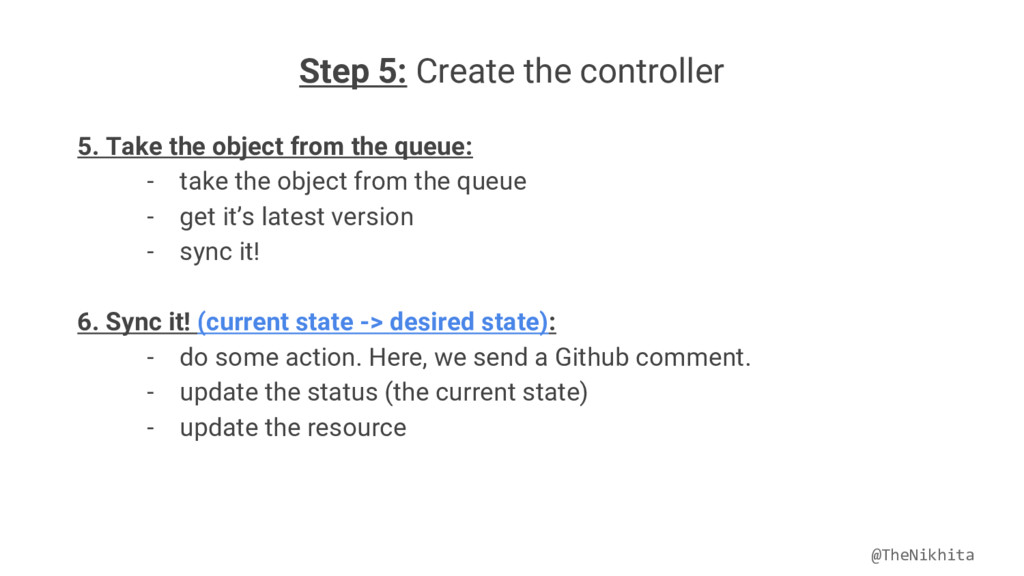 Step 5: Create the controller 5. Take the objec...