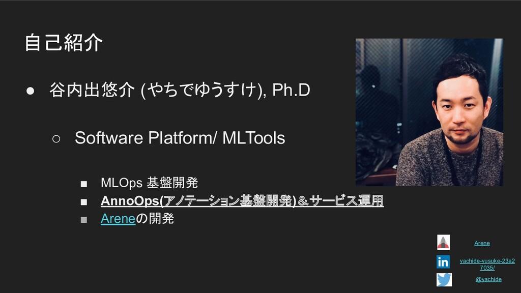 自己紹介 ● 谷内出悠介 (やちでゆうすけ), Ph.D ○ Software Platfor...