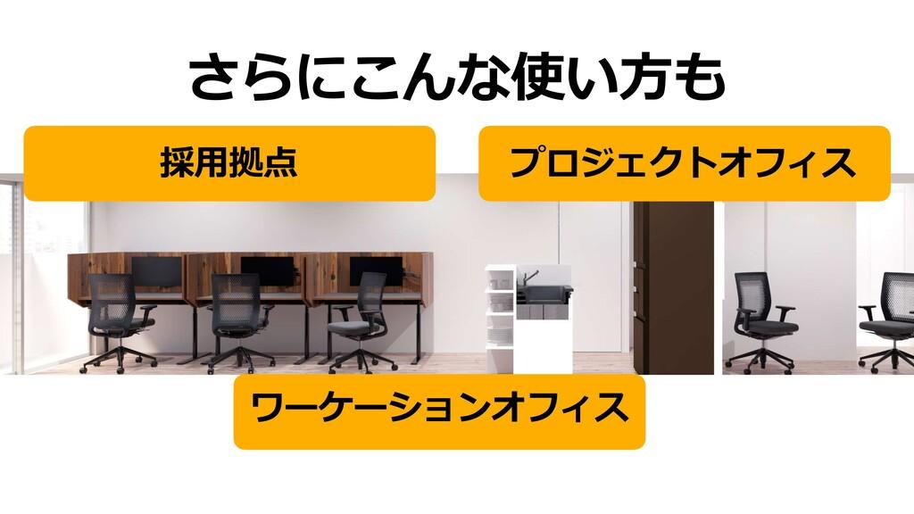 さらにこんな使い⽅も プロジェクトオフィス 採⽤拠点 ワーケーションオフィス