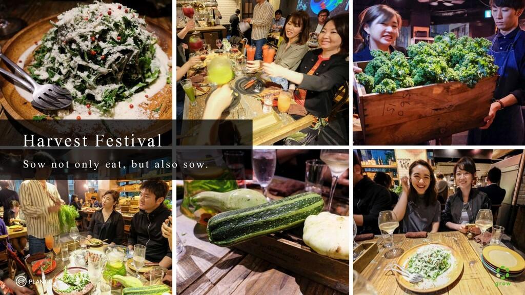 Harvest Festival S o w n o t o n ly eat, b u t ...