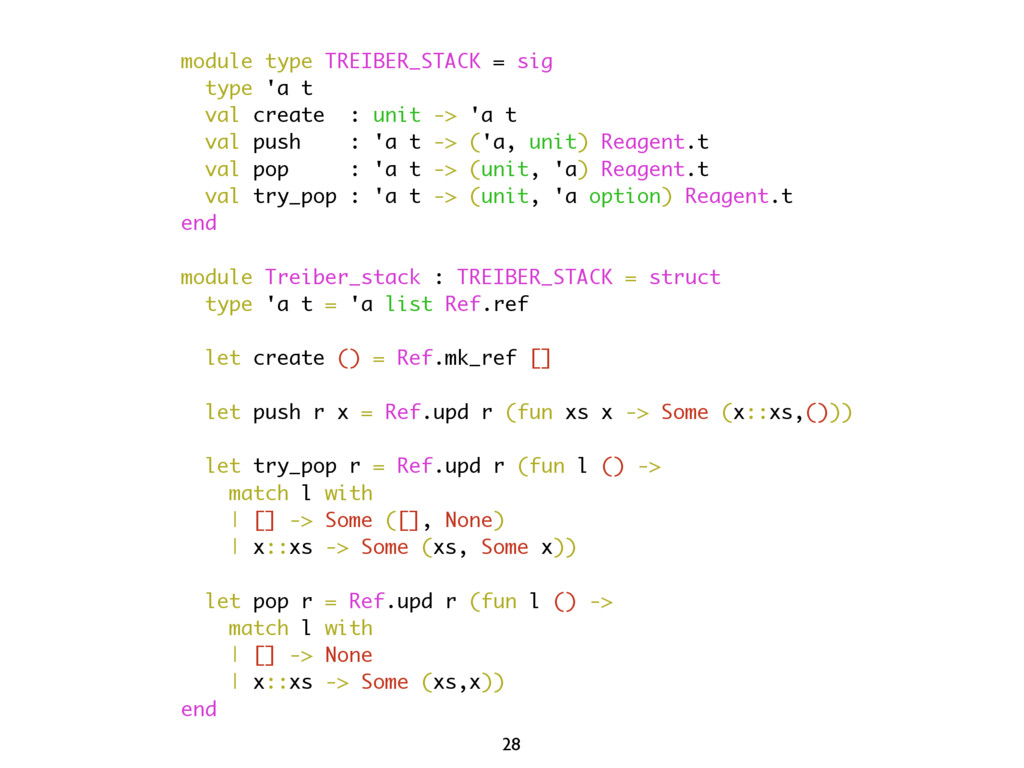 module type TREIBER_STACK = sig type 'a t val c...