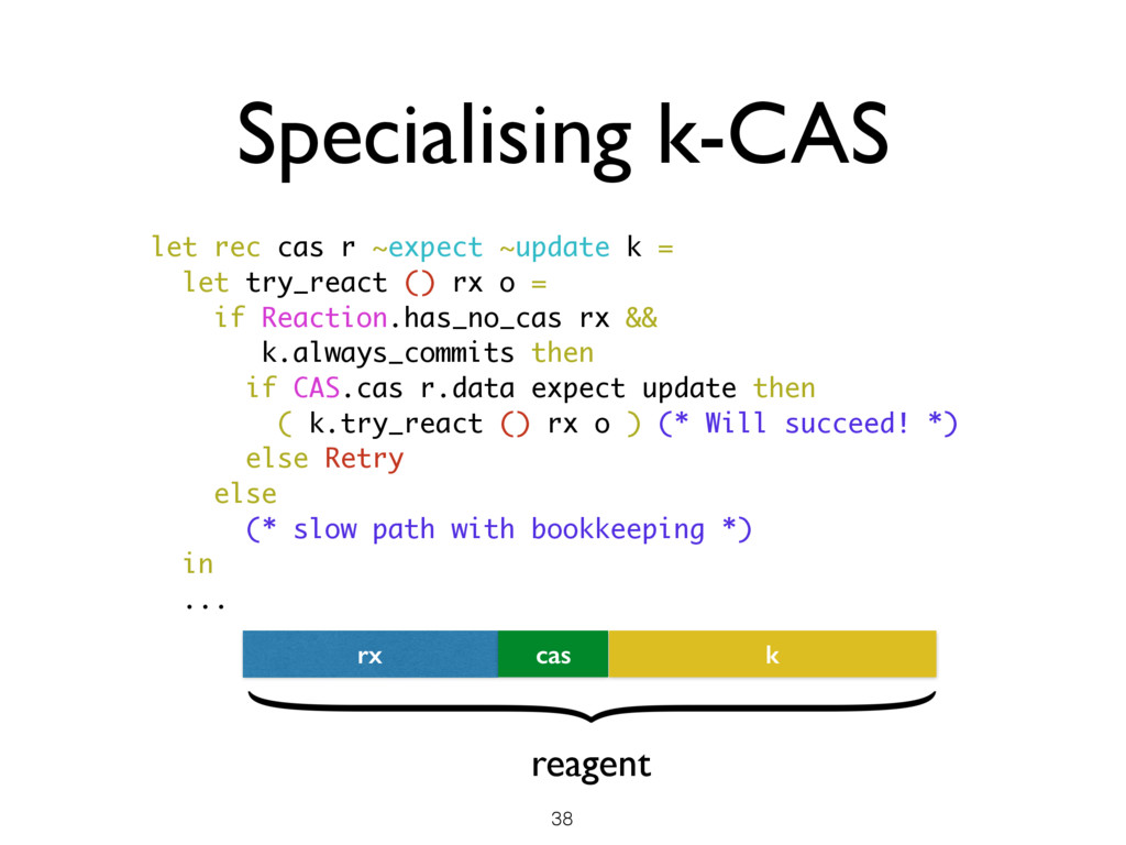 let rec cas r ~expect ~update k = let try_react...